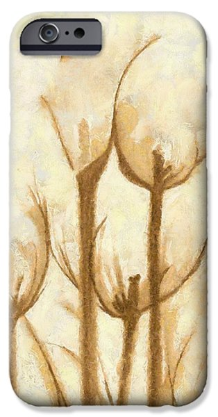 Asymmetrical Mixed Media iPhone Cases - Flower Sketch iPhone Case by Yanni Theodorou