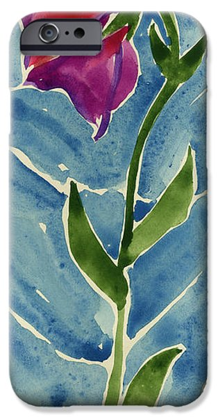 Printmaking iPhone Cases - Flower Standing against the wind  iPhone Case by Cathy Peterson