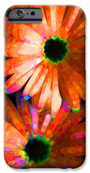 Photographs Mixed Media iPhone Cases - Flower Study 5 - Vibrant Orange by Sharon Cummings iPhone Case by Sharon Cummings