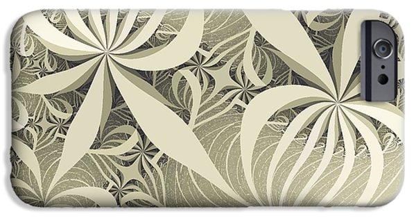 Sepia iPhone Cases - Flower Swirl iPhone Case by Anastasiya Malakhova