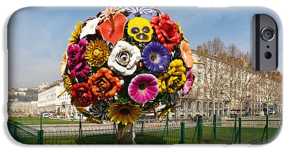 Rhone Alpes iPhone Cases - Flower Tree Sculpture At Place Antonin iPhone Case by Panoramic Images