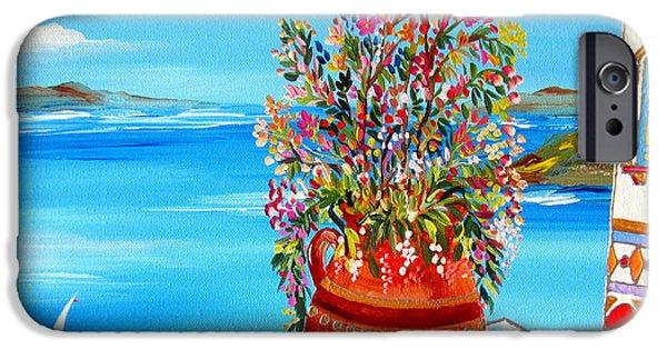 Roberto Paintings iPhone Cases - Flower Vase in Santorini iPhone Case by Roberto Gagliardi