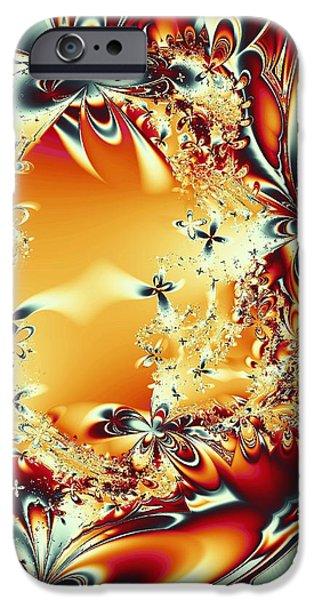 Silver iPhone Cases - Flower Vortex iPhone Case by Anastasiya Malakhova