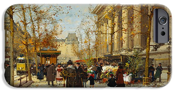 Nineteenth Century iPhone Cases - Flower Walk iPhone Case by Eugene Galien-Laloue