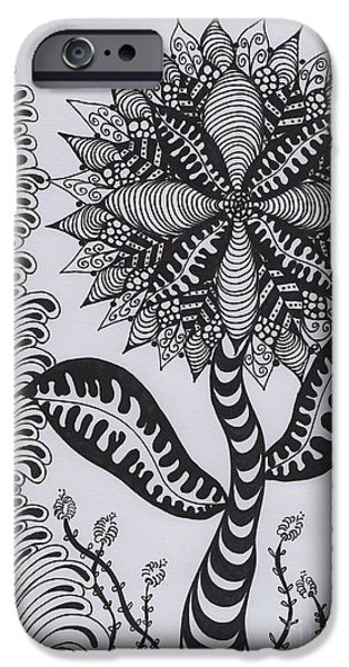 Childlike Drawings iPhone Cases - FlowerDoodle Spiky iPhone Case by Saskia Dinh