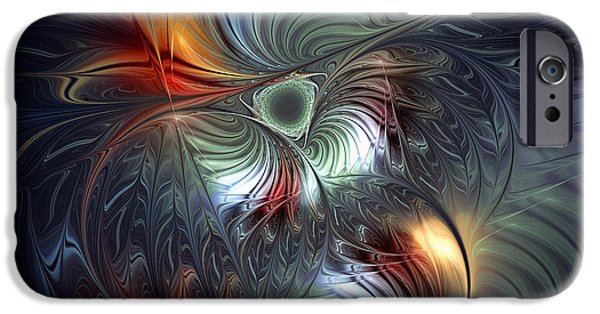 Abstract Flowers Images iPhone Cases - Flowering-Floral Fractal Design iPhone Case by Karin Kuhlmann