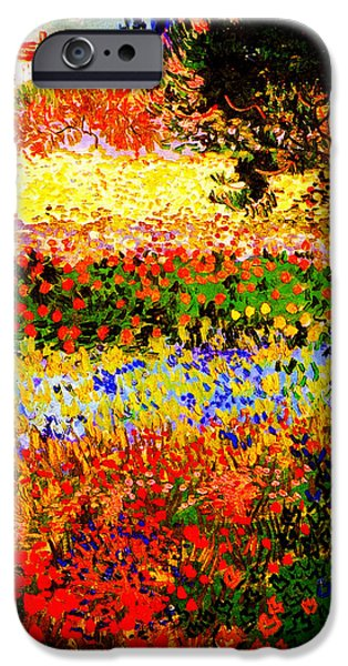 Garden Scene Paintings iPhone Cases - Flowering Garden iPhone Case by Celestial Images