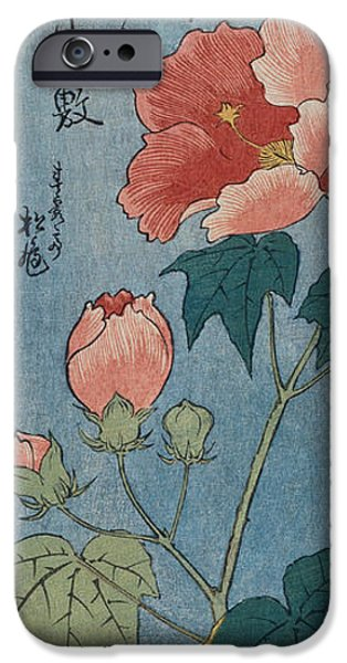Flowering Poppies Tanzaku iPhone Case by Ando Hiroshige