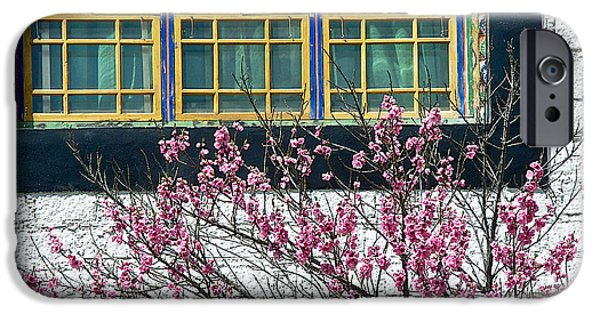 Tibetan Buddhism Digital Art iPhone Cases - Flowering Tree by Windows in Sera Monastery in Lhasa-Tibet  iPhone Case by Ruth Hager