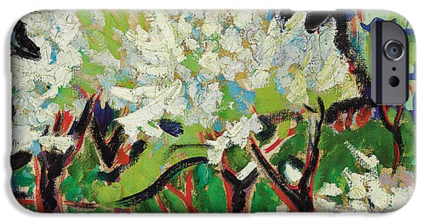 Abstract Expressionist iPhone Cases - Flowering Trees IV iPhone Case by Ernst Ludwig Kirchner
