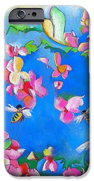 Pink Pastels iPhone Cases - Flowers and Bees iPhone Case by Steve Emery