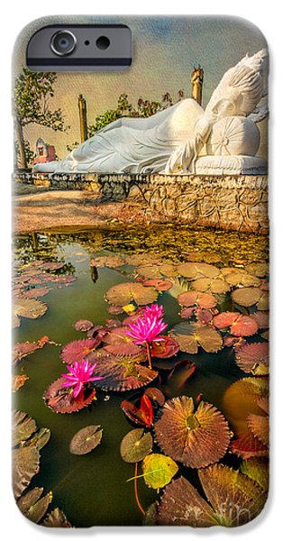 Buddhism Digital iPhone Cases - Flowers and Buddha iPhone Case by Adrian Evans