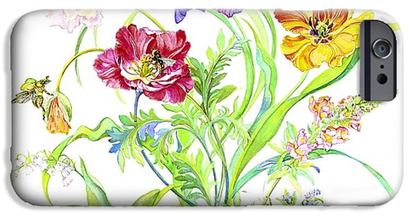Caterpillar iPhone Cases - Flowers and Butterfly iPhone Case by Kimberly McSparran