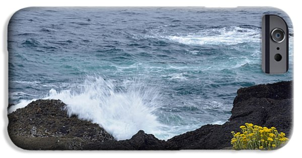 Point Lobos State iPhone Cases - Flowers and Crashing Waves iPhone Case by Bruce Gourley