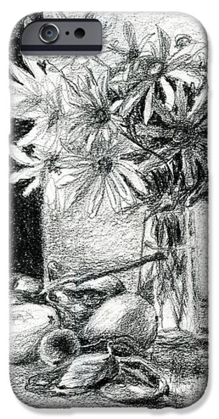 Plum Drawings iPhone Cases - Flowers and Fruit iPhone Case by Tatiana Ivchenkova