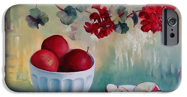 Red Geraniums iPhone Cases - Flowers and fruits iPhone Case by Elena Oleniuc