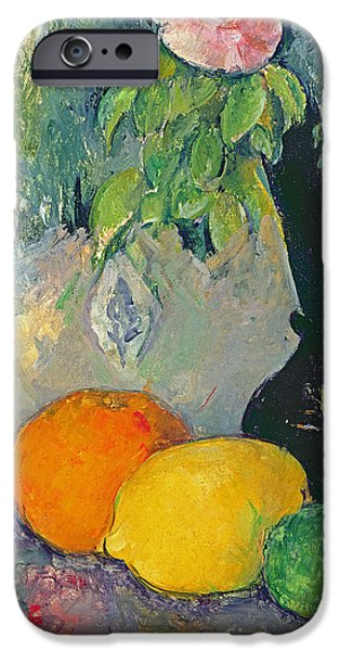 Lime iPhone Cases - Flowers and Fruits iPhone Case by Paul Cezanne