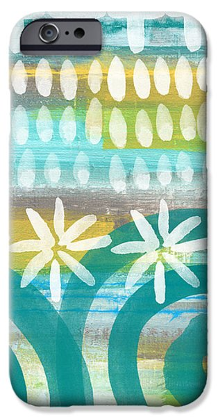 Waves Mixed Media iPhone Cases - Flowers and Waves- abstract pattern painting iPhone Case by Linda Woods