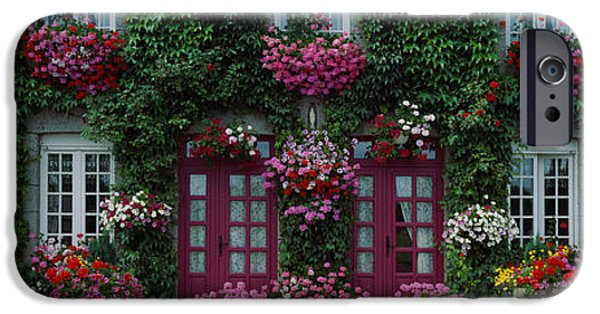 French Doors iPhone Cases - Flowers Breton Home Brittany France iPhone Case by Panoramic Images