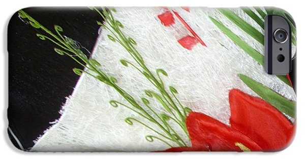 Red Abstract Ceramics iPhone Cases - Flowers iPhone Case by Gabriele Mueller