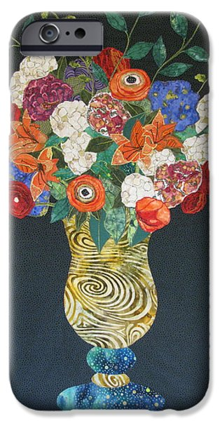 Still Life Tapestries - Textiles iPhone Cases - Flowers Gone Wild iPhone Case by Lynda K Boardman