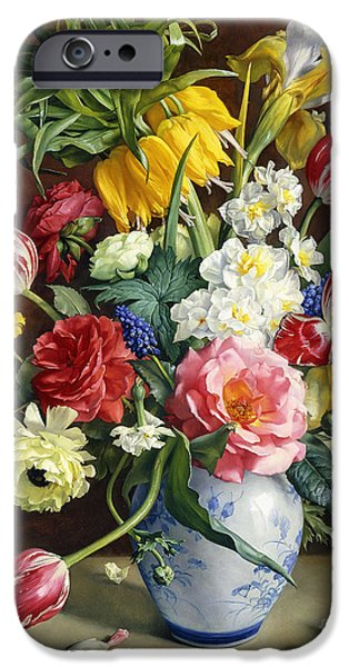 19th Century Paintings iPhone Cases - Flowers in a Blue and White Vase iPhone Case by R Klausner