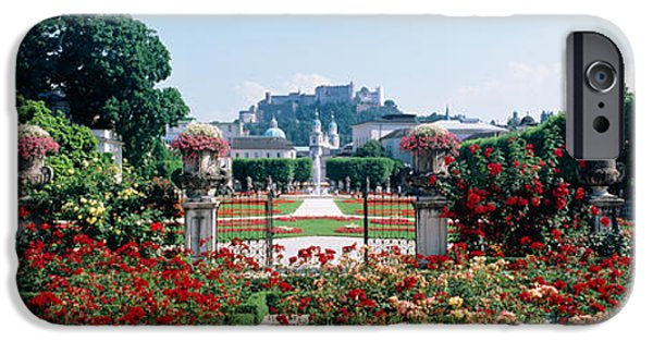 Garden Scene iPhone Cases - Flowers In A Formal Garden, Mirabell iPhone Case by Panoramic Images