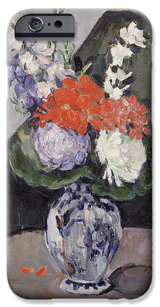 Recently Sold -  - Flora iPhone Cases - Flowers in a Small Delft Vase iPhone Case by Paul Cezanne