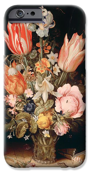 Ledge iPhone Cases - Flowers in a Vase iPhone Case by Christoffel van den Berghe