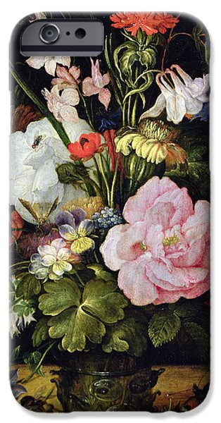 Flemish iPhone Cases - Flowers in a Vase iPhone Case by Roelandt Jacobsz Savery