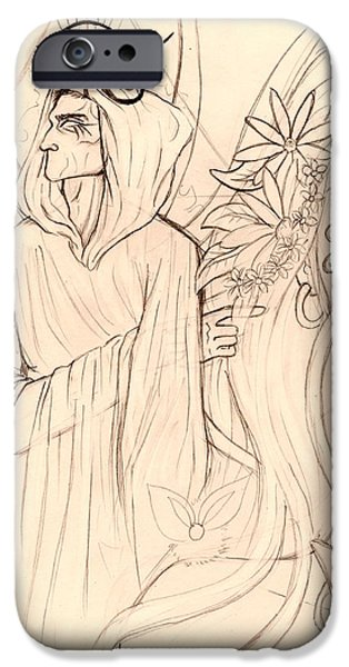 Horus Drawings iPhone Cases - Flowers in Her Hair iPhone Case by Coriander  Shea