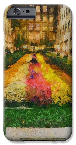 Nature Center Paintings iPhone Cases - Flowers In Rockefeller Plaza iPhone Case by Dan Sproul