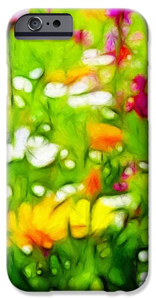 Floral Pastels iPhone Cases - Flowers in the Garden iPhone Case by Stefan Kuhn