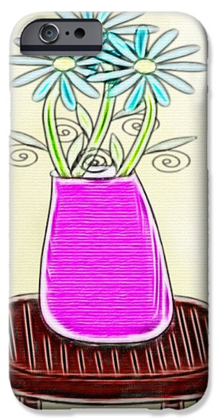 Gina Manley iPhone Cases - Flowers In Vase - Digital Artwork iPhone Case by Gina Lee Manley