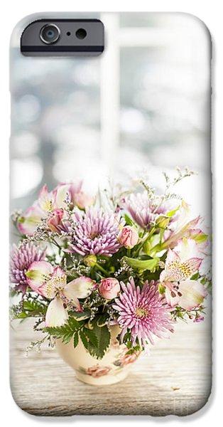 Flower Bouquet iPhone Cases - Flowers in vase iPhone Case by Elena Elisseeva