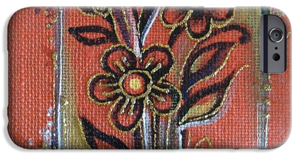 Work Tapestries - Textiles iPhone Cases - Flowers iPhone Case by Kalpana Somalwar