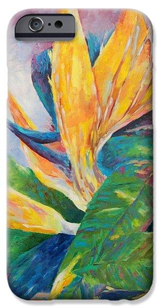 Botanic Illustration iPhone Cases - Bird of paradise flowers iPhone Case by Magdalena Walulik