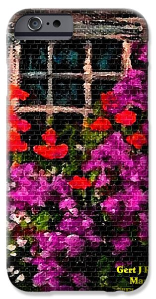 Abstract Digital Pastels iPhone Cases - Flowers Near a Window H a iPhone Case by Gert J Rheeders