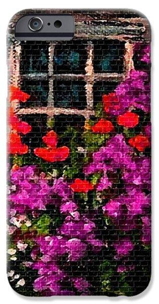 Digital Art Pastels iPhone Cases - Flowers Near a Window H b iPhone Case by Gert J Rheeders