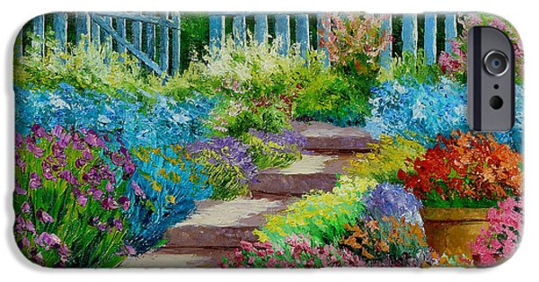Pathway iPhone Cases - Flowers of the Garden iPhone Case by Jean-Marc Janiaczyk