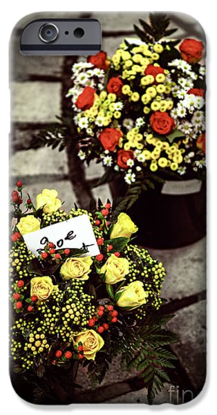 Vendor iPhone Cases - Flowers on the market in France iPhone Case by Elena Elisseeva
