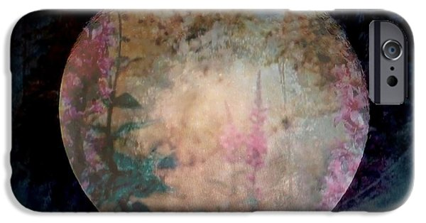 Moonscape Mixed Media iPhone Cases - Flowers On The Moon  iPhone Case by Rick Todaro