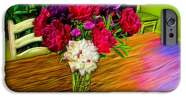 Prismatic Paintings iPhone Cases - Flowers on the Table iPhone Case by Bruce Nutting