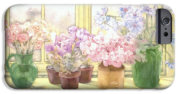 Indoor Still Life iPhone Cases - Flowers On The Windowsill iPhone Case by Julia Rowntree
