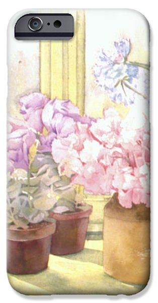 Flowers On The Windowsill iPhone Case by Julia Rowntree