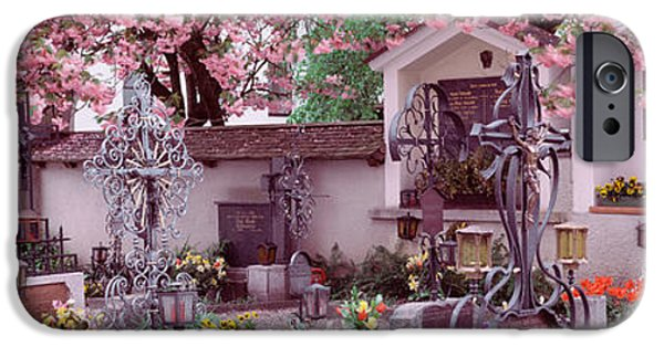 Ledge iPhone Cases - Flowers On Tombstones, Tirol, Austria iPhone Case by Panoramic Images