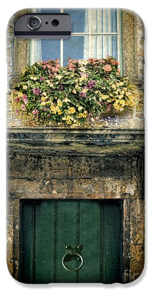 Charming Cottage iPhone Cases - Flowers Over Doorway iPhone Case by Jill Battaglia