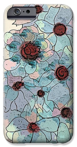 Abstract Collage Drawings iPhone Cases - Flowers -pastels iPhone Case by Victoria Fischer