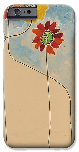 Printmaking iPhone Cases - Flowers.  Pretty Maids all in a Row iPhone Case by Cathy Peterson