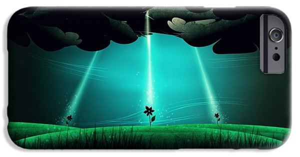 Animation iPhone Cases - Flowers Under the Clouds iPhone Case by Gianfranco Weiss